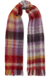 Pimula fringed checked textured-knit scarf