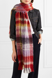 Pimula fringed printed textured-knit scarf