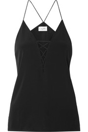Blake lace-up silk-charmeuse camisole