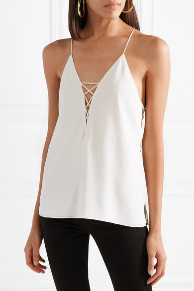 Blake Lace-up Silk-charmeuse Camisole - Black Cami NYC Supply Cheap Online wHo5Cdd