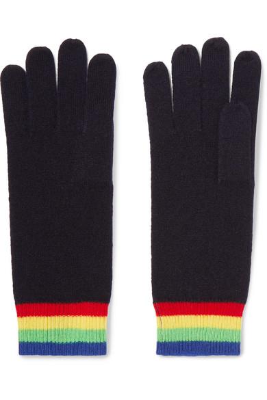 Madeleine Thompson - Elba Striped Cashmere Gloves - Midnight blue
