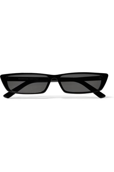 Black Thin Rectangular Sunglasses Balenciaga Sliug6