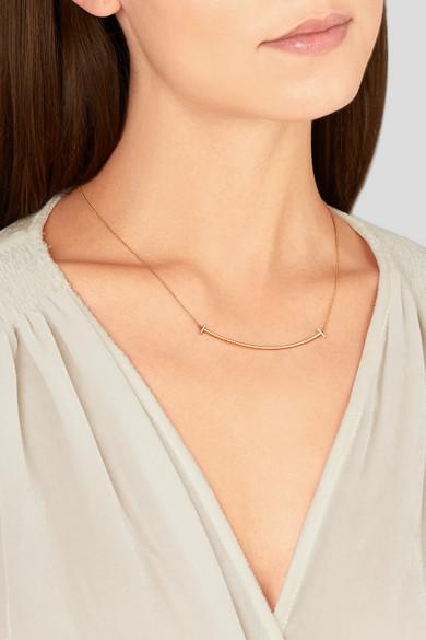 Tiffany Co T Smile 18karat rose gold diamond necklace NETA