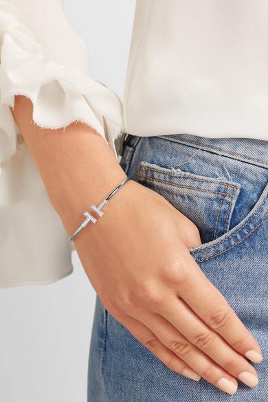 Tiffany Co T Wire 18 Karat White Gold Diamond Bracelet Net A