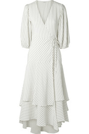 GANNI Wilkie striped silk and cotton-blend seersucker wrap dress
