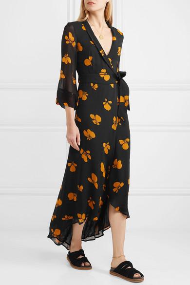 e0985d79444 GANNI. Floral-print chiffon wrap dress