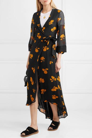 8c4a5dd4b011 GANNI | Floral-print chiffon wrap dress | NET-A-PORTER.COM