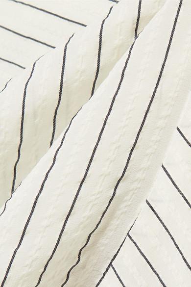 GANNI Wilkie Midirock aus gestreiftem Seersucker aus einer Seiden-Baumwollmischung