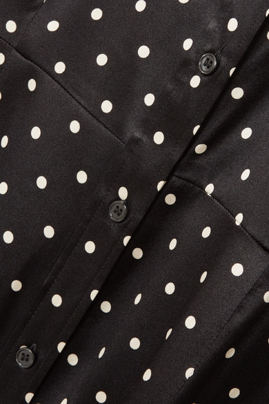 GANNI Dufort Maxikleid aus Satin aus einer Seidenmischung mit Polka-Dots