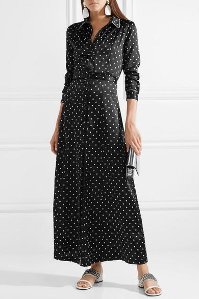 Dufort polka-dot silk-blend satin maxi dress