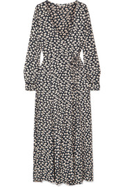 GANNI Roseburg printed crepe de chine wrap dress
