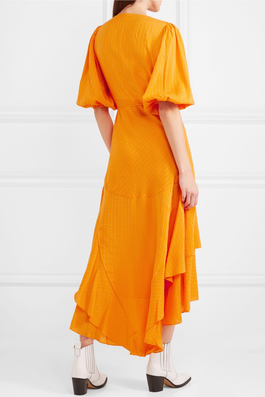 GANNI Wilkie striped silk and cotton-blend seersucker wrap dress