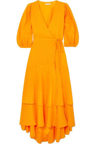 Silk Striped And Wilkie Dress Wrap Blend Cotton Seersucker Ganni xRwnEZqCw