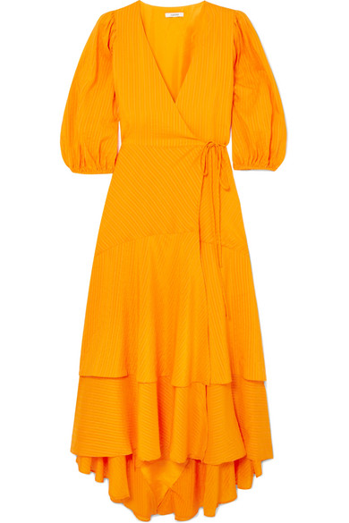 Seersucker Blend Wilkie Dress Striped Wrap And Cotton Ganni Silk 6XwYxPHPq