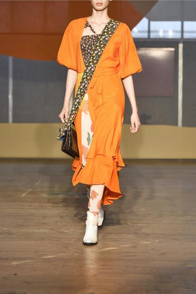 GANNI Wilkie Wickelkleid aus gestreiftem Seersucker aus einer Seiden-Baumwollmischung