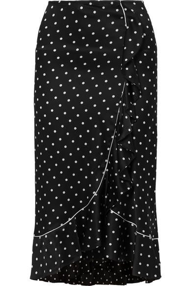 GANNI Dufort Satinrock aus einer Seidenmischung mit Polka-Dots und Rüschen