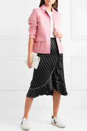 Dufort ruffled polka-dot silk-blend satin skirt