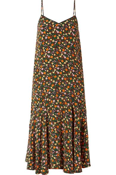 GANNI Joycedale Midikleid aus Seiden-Crêpe mit floralem Print und Rüschen