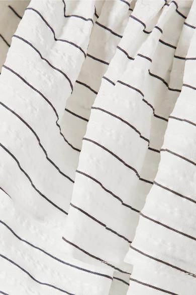 GANNI Wilkie Oberteil aus gestreiftem Seersucker aus einer Seiden-Baumwollmischung mit Rüschen