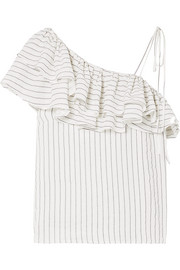 GANNI Wilkie ruffled striped silk and cotton-blend seersucker top