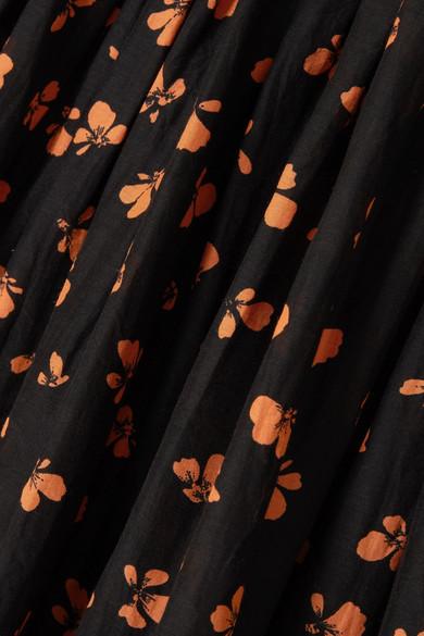 GANNI Beacon Maxikleid aus einer gesmokten Baumwoll-Seidenmischung mit floralem Print