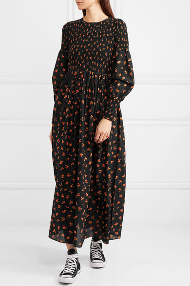 83063b89 GANNI | Beacon shirred floral-print cotton and silk-blend maxi dress ...