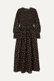 GANNI Beacon shirred floral-print cotton and silk-blend maxi dress