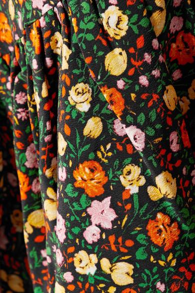GANNI Joycedale Wickelrock aus floral bedrucktem Seiden-Crêpe mit Rüschen
