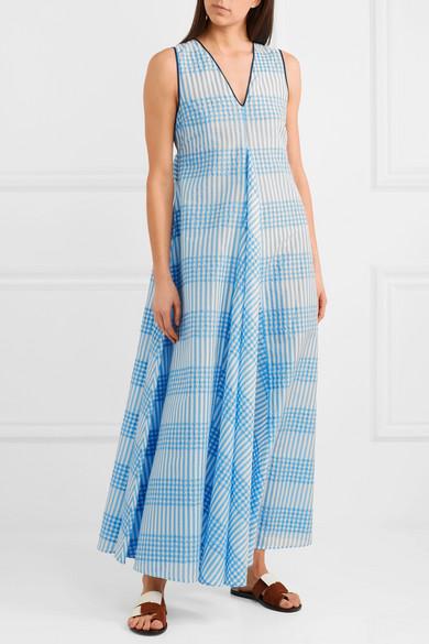 Cotton Blend Ganni Net Checked Dress A Seersucker Maxi Charron qEwaZ