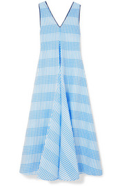 GANNI Charron checked cotton-blend seersucker maxi dress