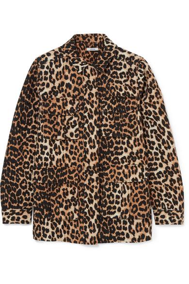 GANNI - Camberwell Leopard-print Linen-blend Canvas Jacket - Leopard print