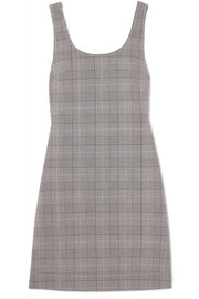 GANNI Checked stretch-woven mini dress