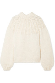 GANNI Julliard bow-embellished mohair and wool-blend sweater