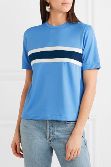 GANNI Dubois T-Shirt aus Stretch-Piqué mit Streifen