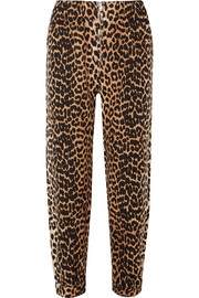 GANNI Camberwell leopard-print linen-blend canvas tapered pants