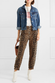 Camberwell leopard-print linen-blend canvas tapered pants