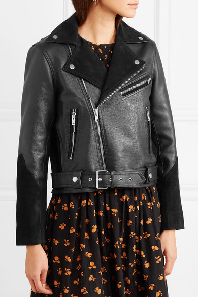 Ganni Lloyd Biker Jacket Made Of Textured Leather And Suede