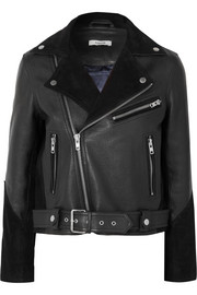 GANNI Lloyd suede-paneled textured-leather biker jacket