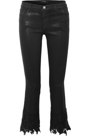 Selena cropped guipure lace-trimmed mid-rise flared jeans