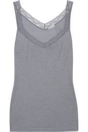 Heather Leavers lace-trimmed stretch-jersey tank
