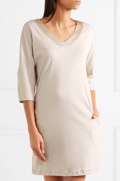 Lavender Silk Satin-trimmed Cotton-jersey Nightdress - Beige Hanro