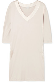 Lavender silk satin-trimmed cotton-jersey nightdress