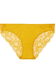 Fleur stretch-satin and Leavers lace briefs