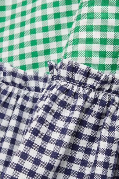 MDS Stripes Gestuftes Maxikleid aus Baumwollpopeline mit Gingham-Karo