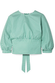 Louise open-back gingham cotton-poplin top