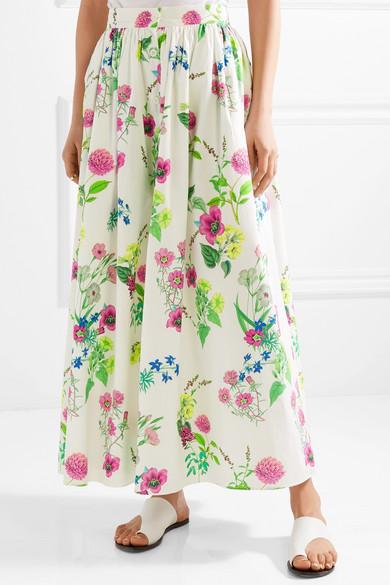 MDS Stripes Maxirock aus Baumwollpopeline mit floralem Print