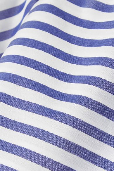 MDS Stripes Schulterfreies Oberteil aus gestreifter Baumwollpopeline mit Rüschenvolant Austrittsspeicherstellen Kaufen Authentische Online xW509ZfNLS