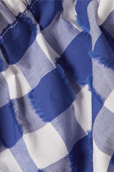 MDS Stripes Verkürztes Top aus Baumwolle mit Fil Coupé und Gingham-Karo