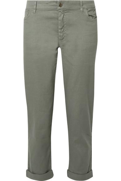 The Boyfriend Flax-blend Slim-leg Pants - Gray green Hatch LwPZHM
