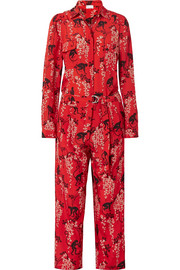 REDValentino Printed silk-crepe jumpsuit